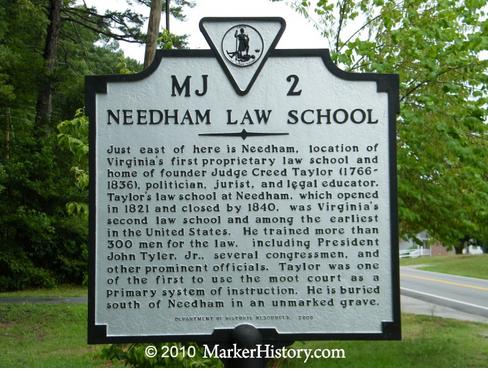 A historical marker on Route 45 near Farmville commemorates Needham Law School. Photo courtesy of www.markerhistory.com